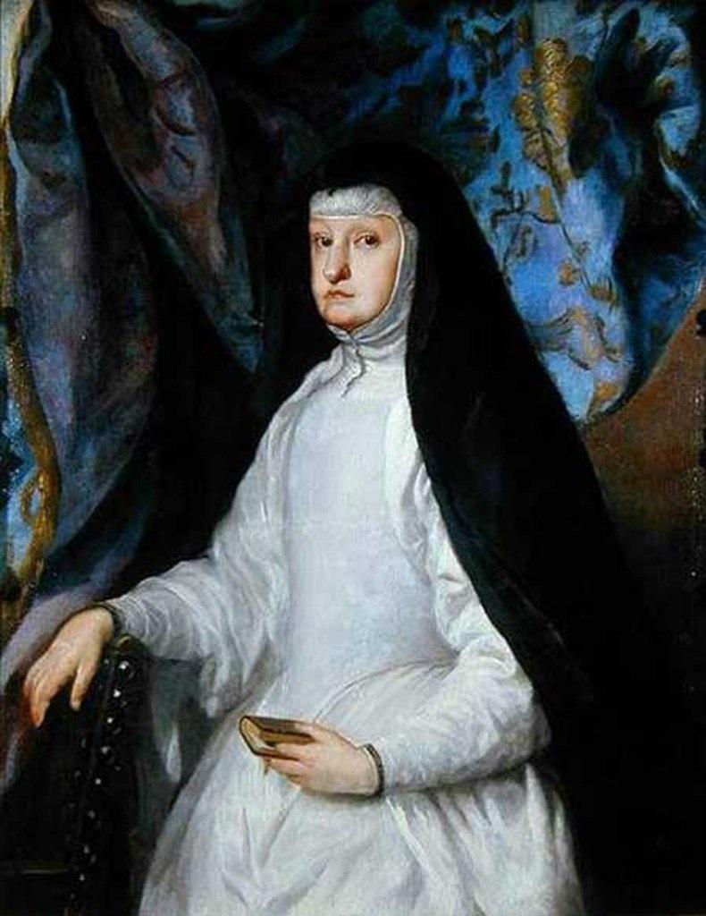 Марианна Австрийская в монашеском обличии. Мать Карла II Испанского. После смерти Филипп IV вся власть оказывается в руках королевы Марианны, не отличавшейся способностями заниматься государственными делами, лишь жаждущей власти.