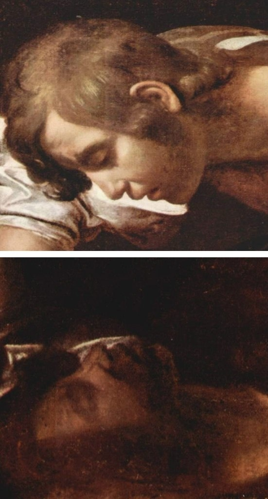 """Караваджо. """"Нарцисс у ручья"""". 1599. Фрагменты."""