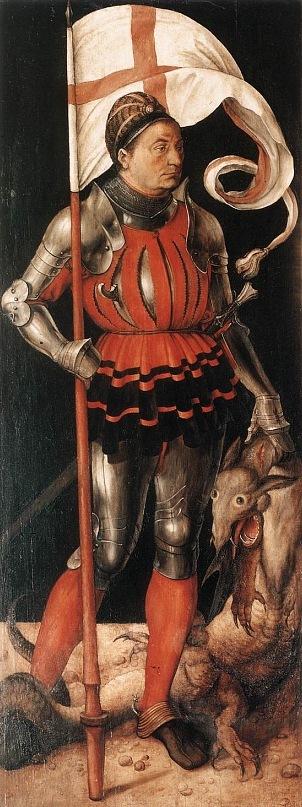 """Альбрехт Дюрер. Алтарь Паумгартнер. Левая створка - """"Св. Георгий"""". 1505"""
