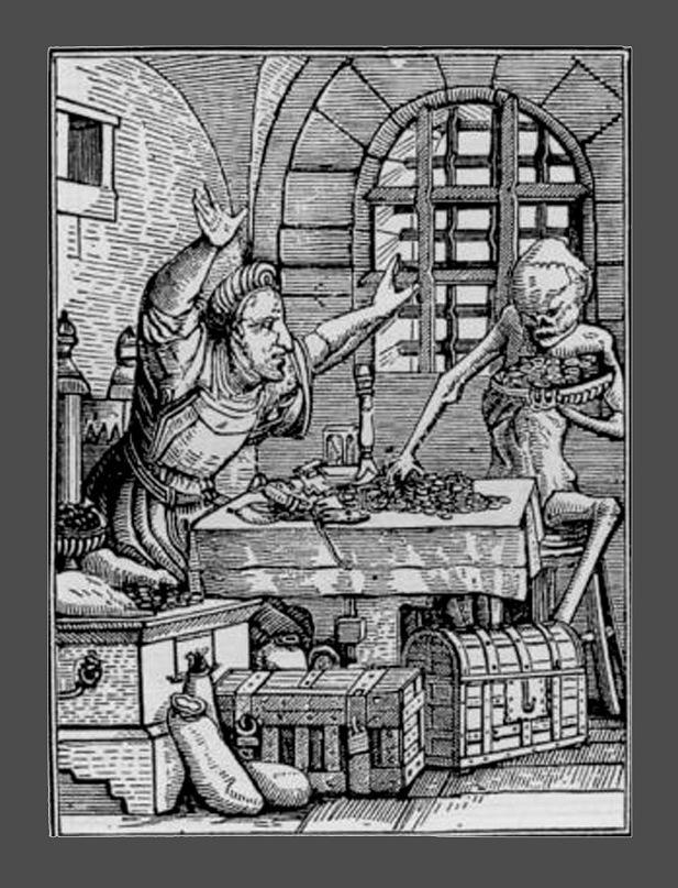 """Ганс Гольбейн Младший. """"Пляска Смерти"""". 1526 год - создание. 1538 - публикация. """"Скупец"""""""