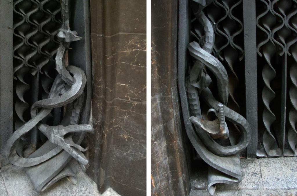 Дворец Гуэля. Главный фасад, выходящий на узкую улицу Nou de la Rambla. Деталь ворот: две разнонаправленные змеи, свивающиеся в узел от напряжения и злобно шипящие...