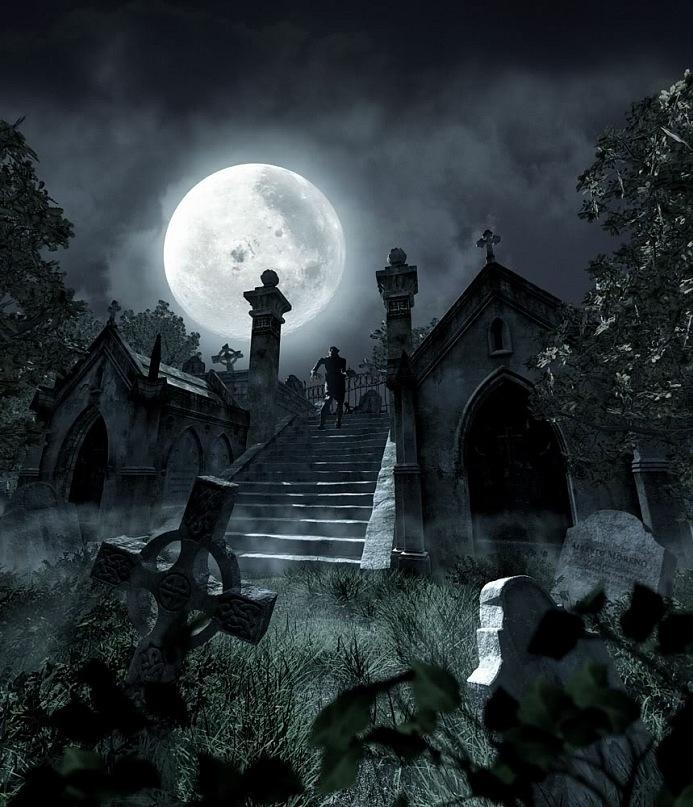 """Мистический вид кладбища с мужской фигурой в центре. Кто он - этот незнакомец? """"Вышел ли он из бронзовых дверей часовни, или неприметно приблизился и поднялся по лестнице с улицы, осталось невыясненным""""..."""