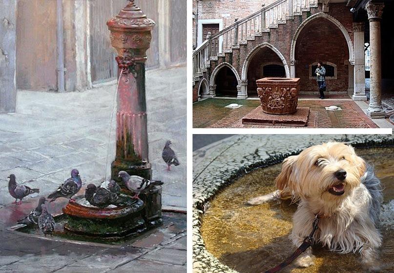 Венецианские фонтаны... Недавний с чистой питьевой водой для утоления жажды туристов и спасения города от пластиковых бутылок. Фонтан в прелестном патио - внутреннем дворике - тоже недавний. Собачонка - любительница фонтанов - не знаю, жива ли.