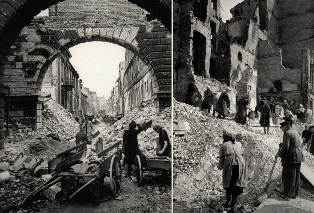 Разборка завалов от разрушенных зданий...