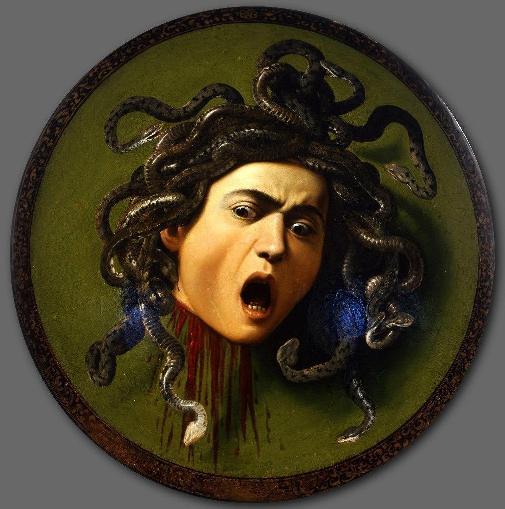"""Караваджо. """"Медуза"""". 1599. Галерея Уффицы во Флоренции. Картина признана самым значительным образом Медузы горгоны в истории мировой живописи."""