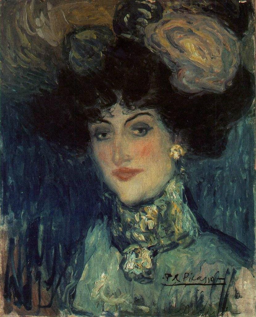 """Пабло Пикассо. """"Женщина в шляпе с перьями"""". 1901."""