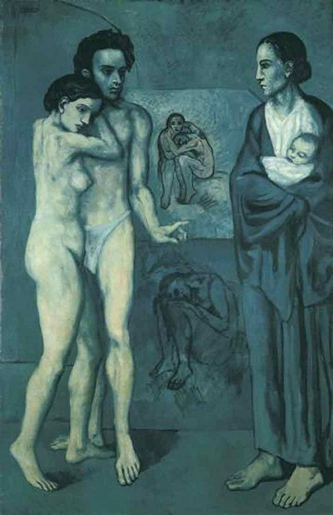 """Пабло Пикассо, """"Жизнь"""" (1903). Мужская фигура имеет сходство с Карлосом Касагемасом - его другом, умершим теперь уже два года тому назад."""