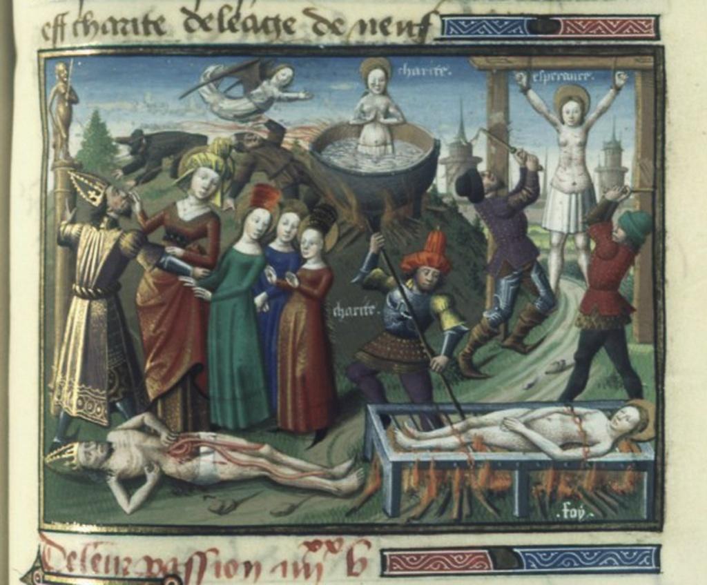 """По свидетельству средневековых манускриптов, после пыток крючками и факелами, Евлалию приговорили к казни через сожжение. Легендарное """"Житие Евлалии из Барселоны"""" является поздним подражанием (Х век)."""
