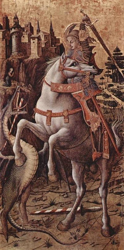"""Карло Кривелли. """"Битва Св. Георгия с драконом"""" (вариант). 1490-е"""