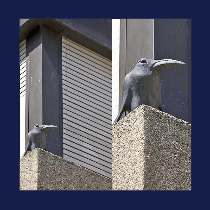 """Птица на подоконнике одного из современных домов Базеля, что напоминает """"Ворона"""" Эдгара По..."""