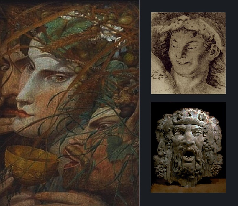 """Слева Вакх - Дионис - Бахус, современная композиция. Справа Карл Брюллов, рисунок """"Голова Вакха в тигриной шкуре"""". Справа же Вакх - Дионис - Бахус в одном лице, древнегреческая маска"""
