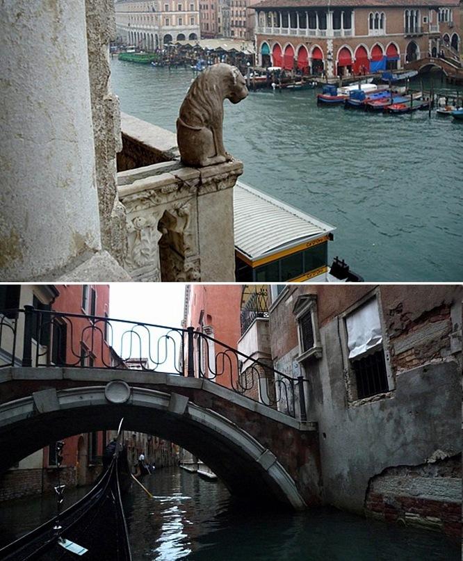 """Внизу - один из каналов (каналетто) в """"недрах города"""" Венеции. Наверху - Большой канал, украшенный зданиями, как жемчугами."""