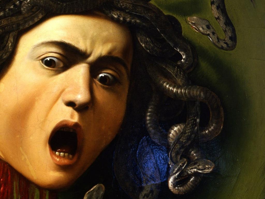 """Караваджо. """"Медуза"""". 1599. Фрагмент. В лике Медузы выражено предельное состояние Ужаса,  неожиданно охватившего ее. Оглушительно кричащая голова  гипнотизирует не столько взглядом - сколько звучащим Ужасом."""