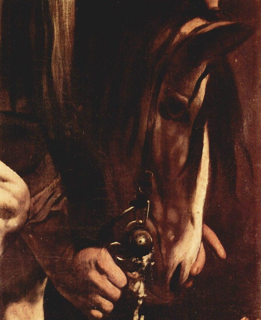 """Караваджо. """"Обращение Савла"""" (фрагмент). 1600-1601.  Профиль коня-философа с тревожно-раздумчивым взглядом..."""
