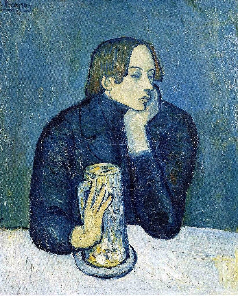 """Пабло Пикассо. """"Портрет Хайме Сабартеса"""" (друга, секретаря). 1901, что считается началом """"голубого периода"""" в творчестве Пикассо. Это, в основном, работы 1901 - 1904 годов."""