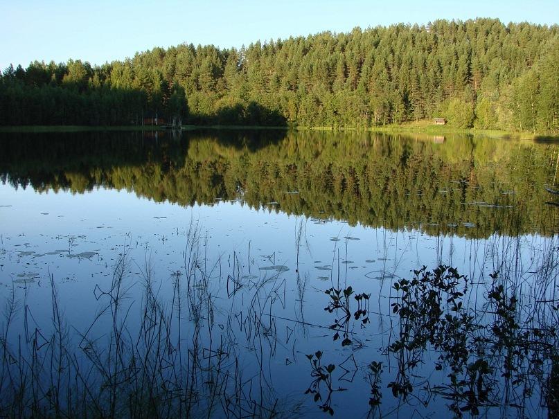 Озеро Синее по другую сторону тропы, не менее прекрасно, чем Масельга... Чистое, но остывшее за период переменной облачности.