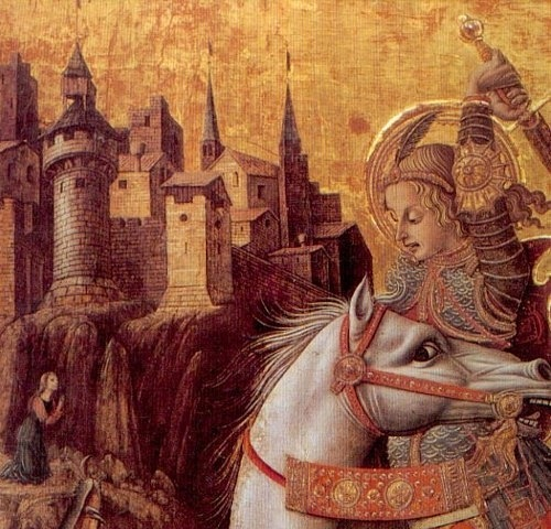 "Карло Кривелли. ""Битва Св. Георгия с драконом"" (фрагмент). 1490-е"