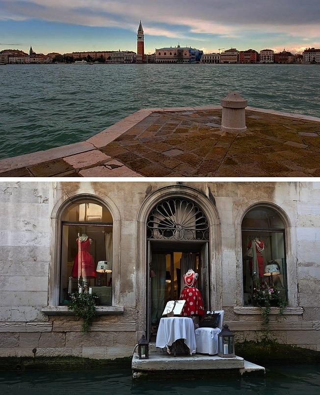 """Вверху - самая красивая панорама Венеции, снятая с Таможенного мыса. Внизу - вид на лавочку в """"недрах Города""""."""
