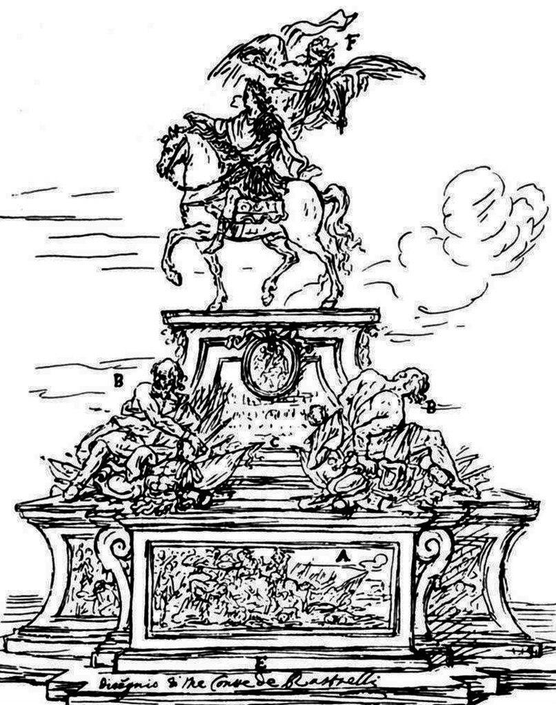 Эскиз памятника Петру Первому Великому, на котором следы вдохновения видны совершенно отчетливо.