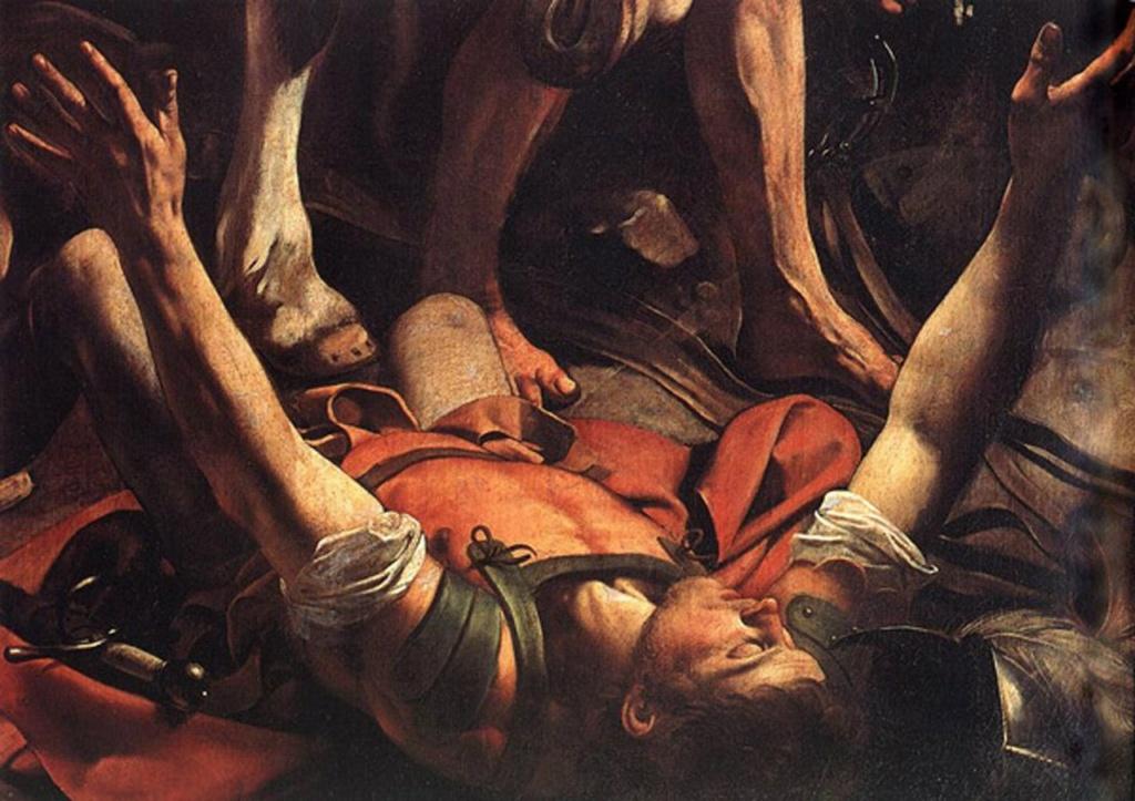 """Караваджо. """"Обращение Савла"""" (фрагмент). 1600-1601. Фигура сверженного с коня Савла ..."""