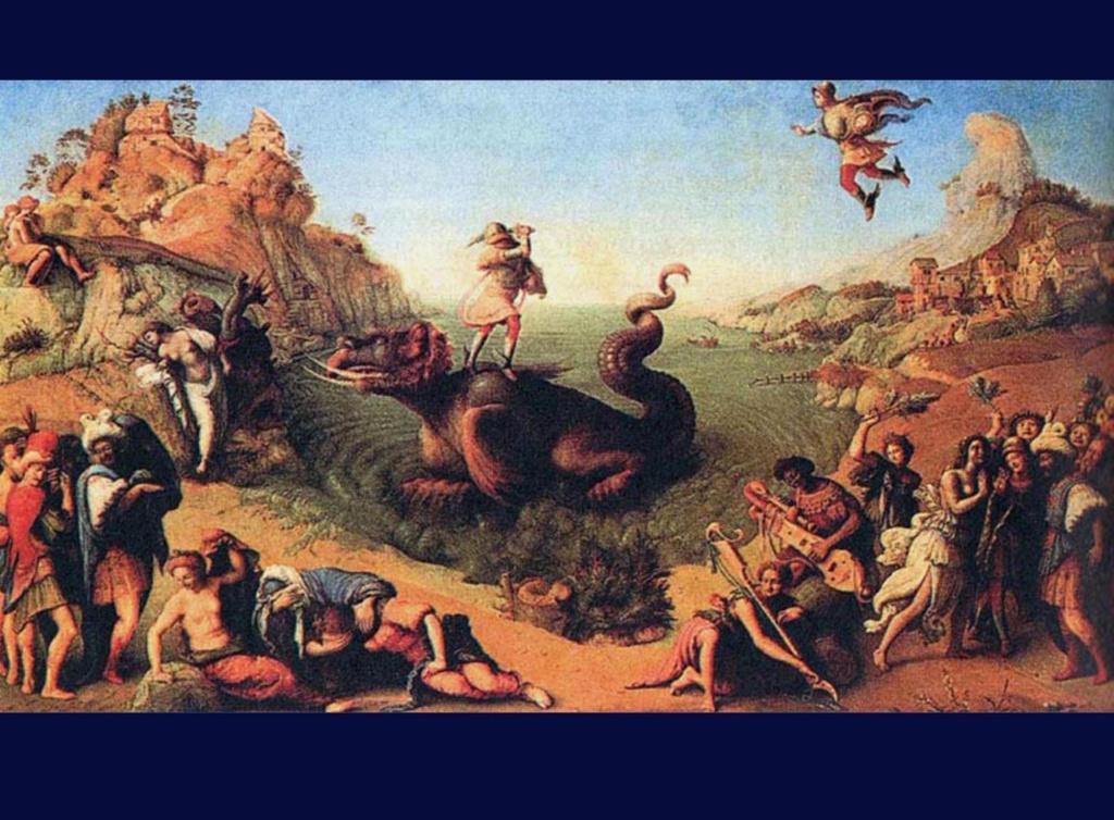 """XVI ВЕК. Пьеро ди Козимо. """"Персей, спасающий Андромеду"""". 1515 - 1520. Персей изображен дважды - сначала он виден в момент полета  с правой стороны композиции, а затем - на спине чудовища,  старающимся нанести смертельный удар зверю."""