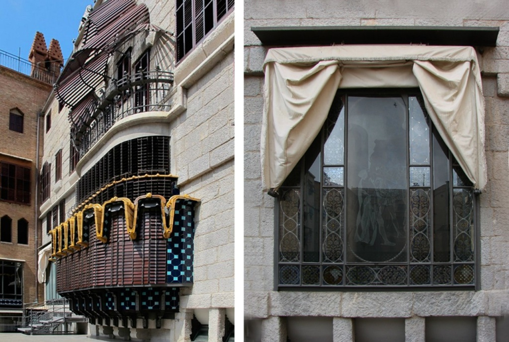 """Барселона. Дворец Гуэля. Арх. Антонио Гауди. 1890 год. Дворовый фасад с эркером и балконом над ним, затененным решетчатым навесом (""""пергольной маркизой""""). Фото справа - стена с витражным окном, показанным ранее."""
