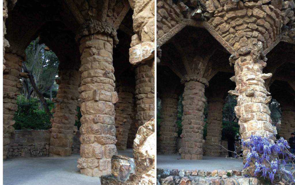 """Парк Гуэля. Средний (""""виадук Дерева"""") — в стиле барокко. Здесь стоит три ряда мощных вертикальных, как положено, колонн, что создаёт не менее зачаровывающую игру перспективы...с"""