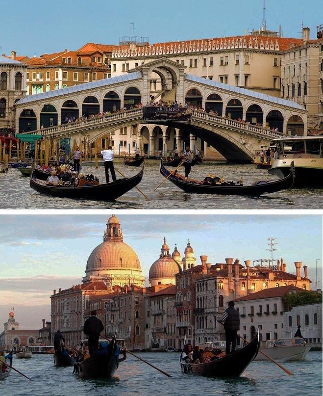 Венеция. Гранд канале. Арка моста Риальто. Венеция. Гранд канале. Купола церкви Санта Мария делла Салюте.