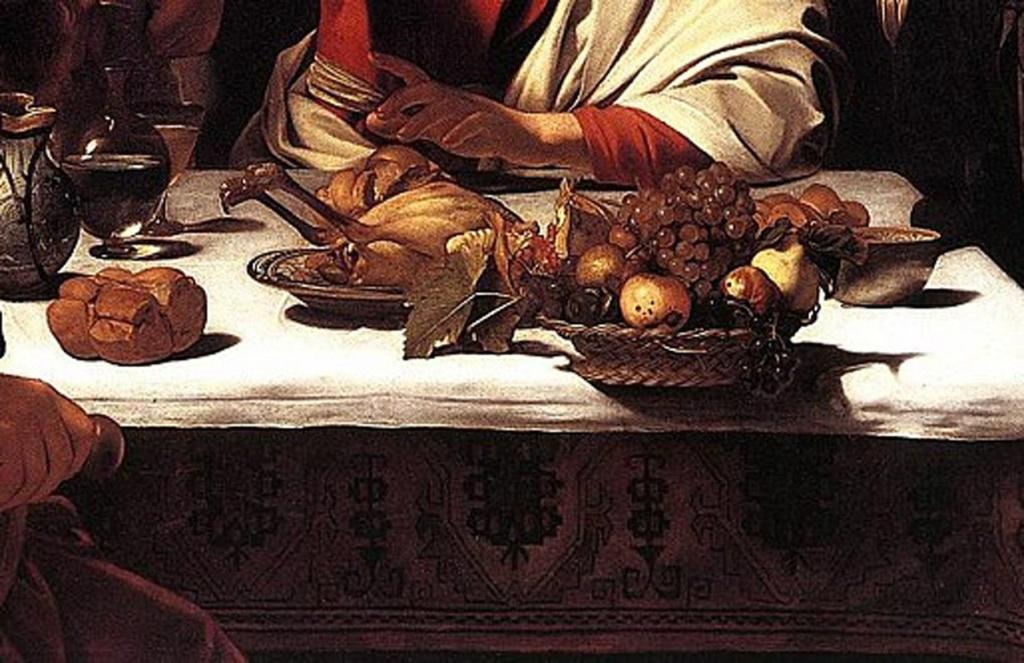 """Караваджо. """"Ужин в Эммаусе"""" 1601. Лондонская Национальная галерея. Стол, покрытый белой скатертью, с хлебом и вином символизирует алтарь. Зрители становятся свидетелями свершения таинства евхаристии."""