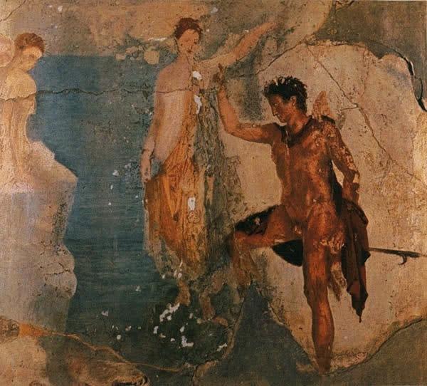 """Помпейская фреска. """"Пеосей и Андромеда"""". От I века до н. э.  до извержения Визувия в 79 году н. э., приведшего к гибели  Помпей и окрестных городов. Весьма достоверное изображение  мифа о Персее в истории Древнего Рима"""