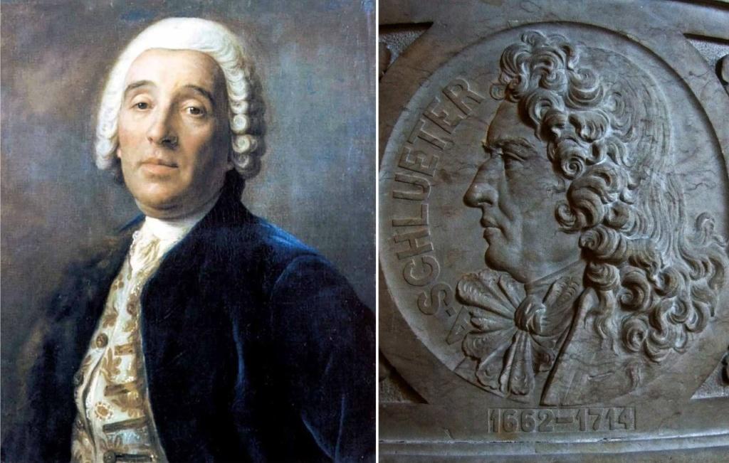 Андреас Шлютер (1662 - 1714) -  придворный архитектор Прусского короля Фридриха I. Франческо-Бартоломео Растрелли (1700 - 1771) - обер-архитектор Российской императрицы Елизаветы Петровны.