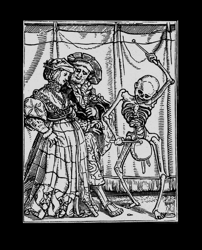 """Ганс Гольбейн Младший. """"Пляска Смерти"""". 1526 год - создание. 1538 - публикация. """"Молодожены"""". Песочные часы увидели? Шествует пара новобрачных к Смерти, что всех к себе забирает.  В чем их вина? В том, что рождены смертными"""