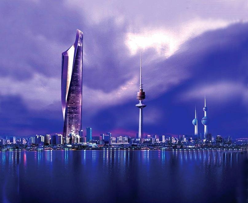 Кувейт, Эль-Кувейт. Первый небоскреб слева - офисный комплекс SOM: Скидмор, Оуингс & Меррилл, проект 2007 года.