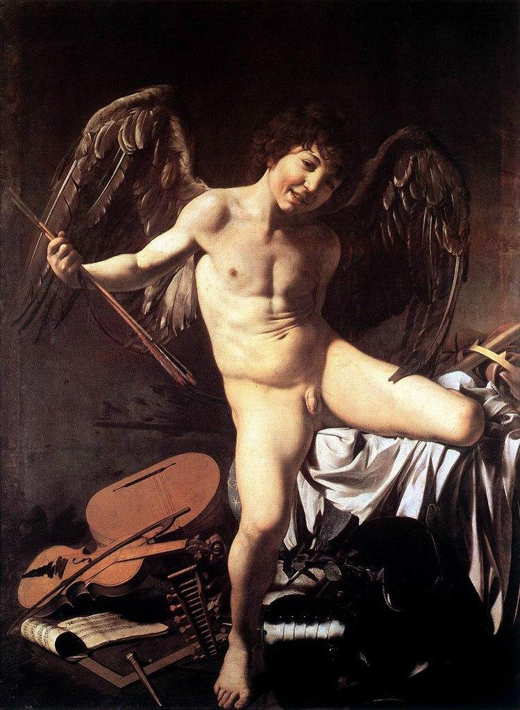 """Караваджо. """"Амур - победитель"""". 1601-1602. Государственный музей, Берлин. Заказ кардинала Дель Монте. Судя по черным крыльям, этот уличный мальчишка - не небесное божество,  а вполне земное воплощение чувственности, что опасна для людей."""