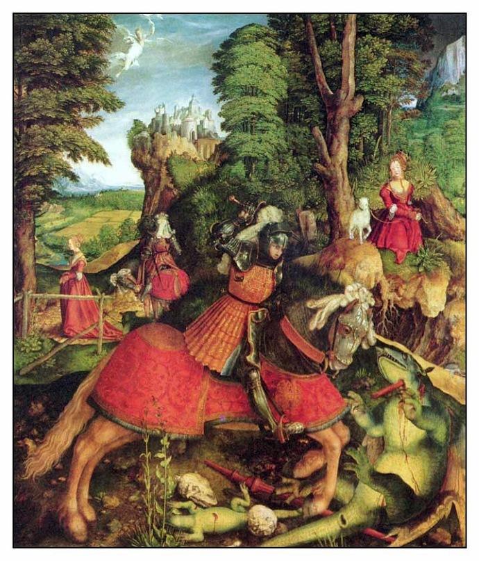 """XVI ВЕК. Бек Леонхард. """"Поединок Св. Георгия с драконом""""."""