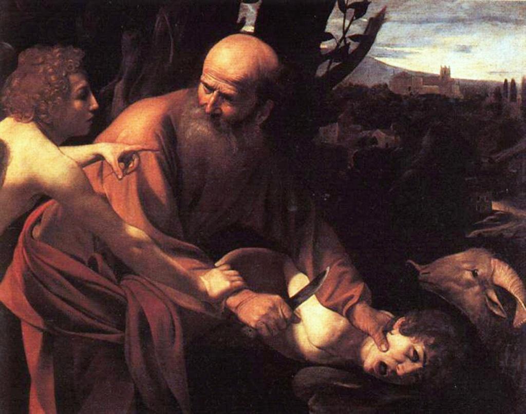 """Караваджо. """"Жертвоприношение Исаака"""". 1603. Галерея Уффицы. Картина написана по библейскому сюжету и по сути сам библейский сюжет является описанием картины. Ветхий Завет, Бытие, глава 22."""