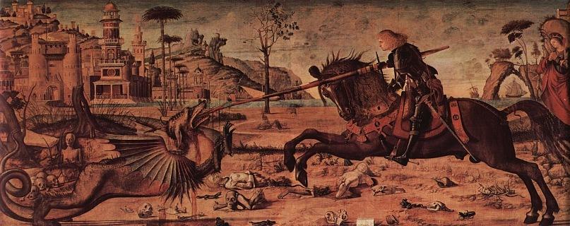 "XVI ВЕК. Италия. Венецианская школа. Витторе Карпаччо.  ""Поединок святого Георгия и дракона"". 1502-1508. Венеция.  Scuola di San Giorgio degli Schiavoni"