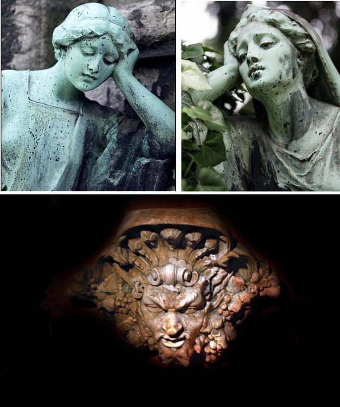 """Надгробные памятники на Северном кладбище в Мюнхене, по словам Манна - """"еще незаселенном"""". Внизу - керамическая маска бога Вакха (мне происхождение неизвестно)."""
