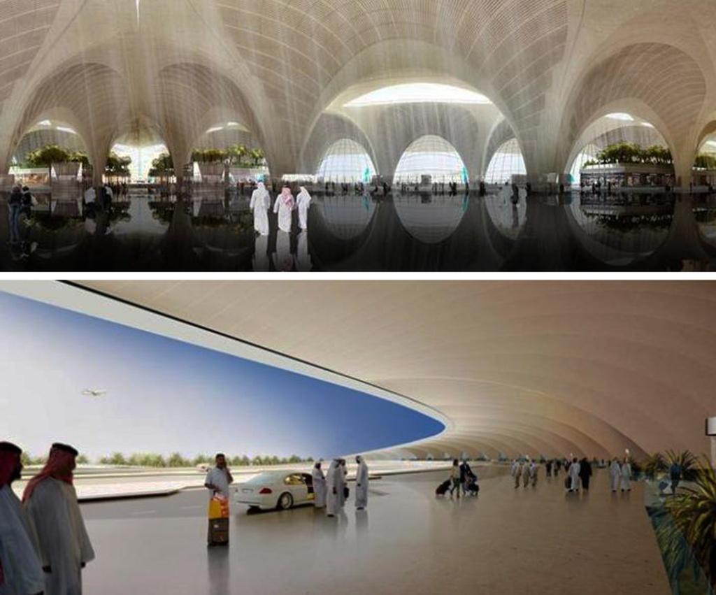 Проект нового Международного аэропорта Кувейта. Британское архитектурное бюро Foster & Partners. Длина каждого крыла терминала - 1,2 километра,  высота сооружения — 25 метров. Аэропорт рассчитан на прием 50 миллионов пассажиров в год.