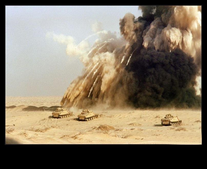 Война в пустыне, прилегающей к Персидскому заливу...