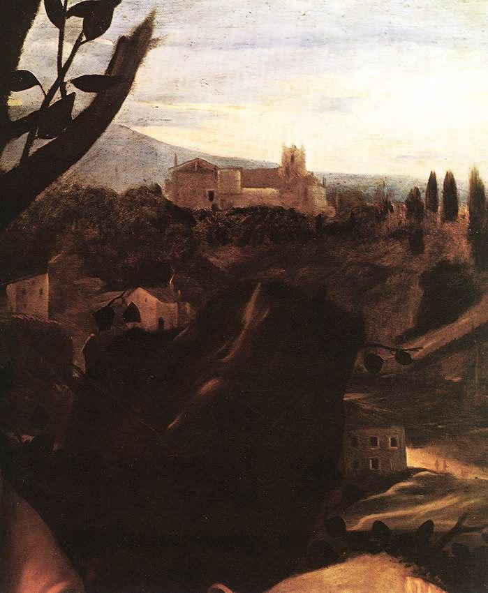 """Караваджо. """"Жертвоприношение Исаака"""". 1603. Галерея Уффицы. Фрагмент, в котором вместо темного фона представлен пейзаж... Очень лиричный - тосканский. Это - светлая по сюжету картина?"""