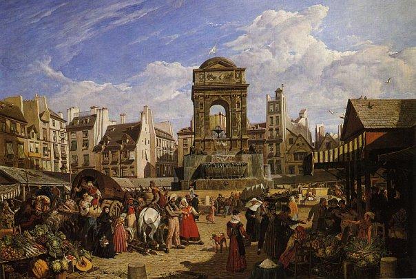 Фонтан Невинных с находившимися вокруг него торговыми лавками и старыми домами. Картина Джона Джеймса Шалона. 1822