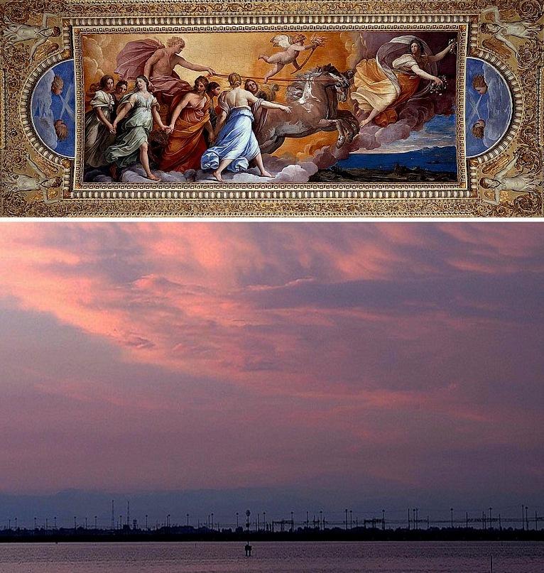 """Гвидо Рени. Знаменитый плафон """"Аврора"""" в палаццо Роспильози. 1614. Г. Рени - поклонник античности и Рафаэля, соединивший идеализм и натурализм в изображении грациозных фигур, излучавших чувственную красоту - Высокую и земную, тоже в единстве."""