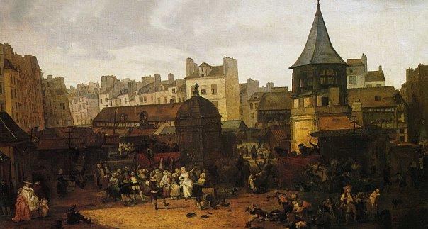 Прежний вид Центрального рынка в Париже.  Картина Филибера Луи Дебюкура. 1782