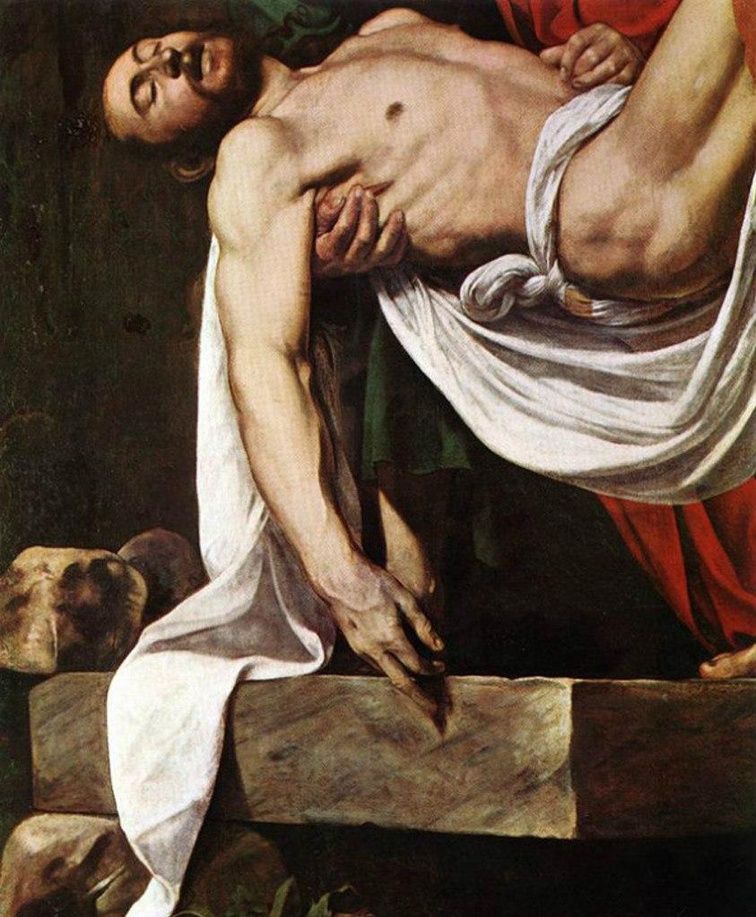 Караваджо. «Положение во гроб». 1604. Ватиканская пинакотека, Рим. По мнению врагов художника, тело Христа изображено слишком безжизненным - не сможет такой воскреснуть...