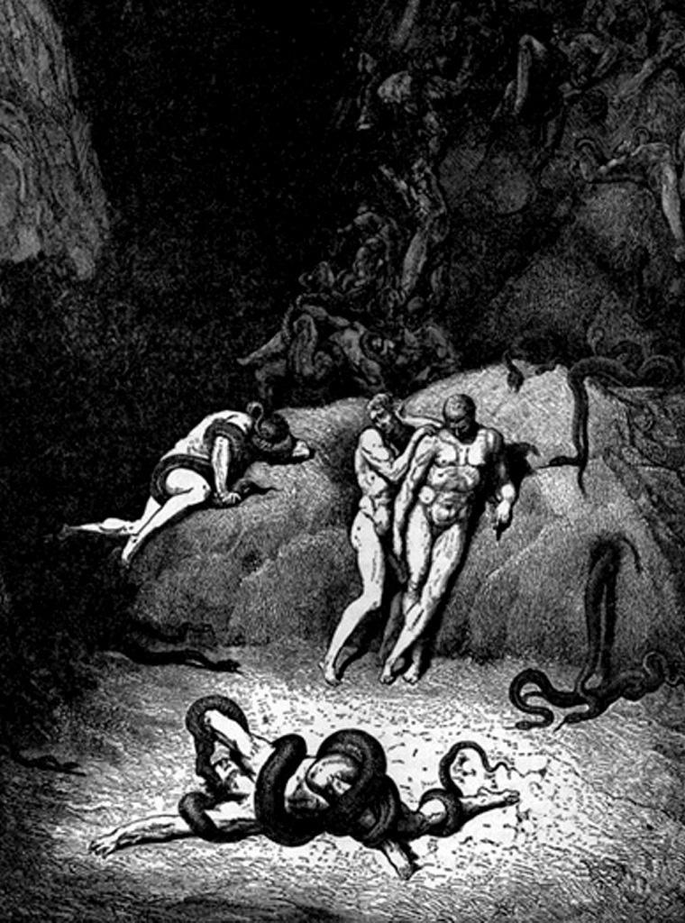 """Гравюры Г. Доре к """"Божественной комедии"""" Данте. (Inferno). 1860-е годы И змеи в Аду есть. Они - вершители самых страшных возмездий за черное богохульство..."""