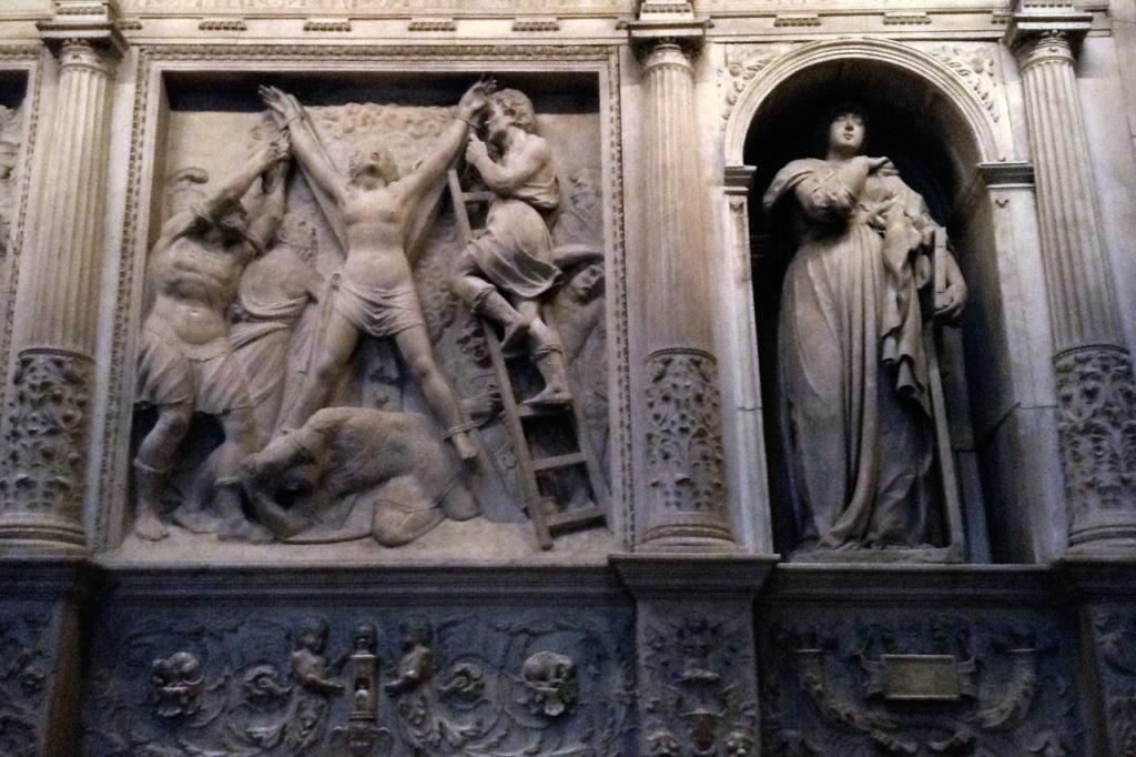 Кафедральный собор в Барселоне Фрагмент мраморной ограды Хора Ордоньеса и Вилара, 1517 год.