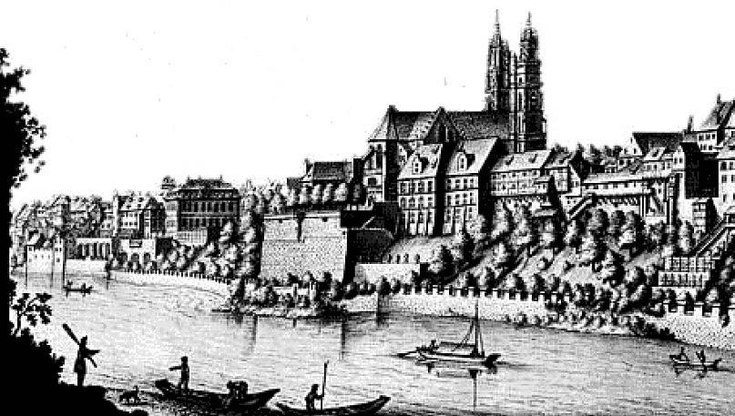 Панорама Базеля на Рейне. Ксилография напечатана в начале XVI века. Внизу течет Рейн. Над ним на высоком берегу стоит Кафедральный собор, нами пристально рассмотренный. Вокруг собора дома - какими они были в первый приезд в город Гольбейна
