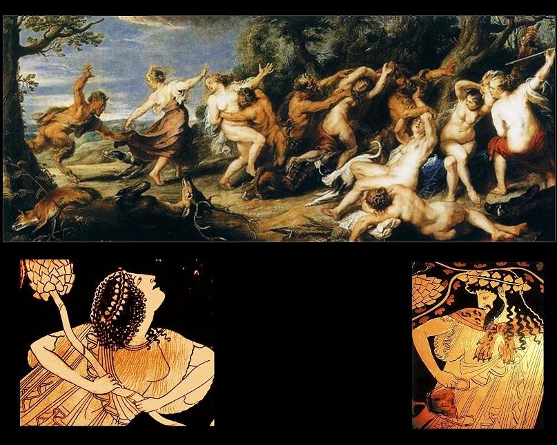 """Питер Пауль Рубенс. """"Охота сатиров за нимфами"""" 1620-е годы. Менада и Бог Дионис - изображения с древнегреческих краснофигурных ваз."""