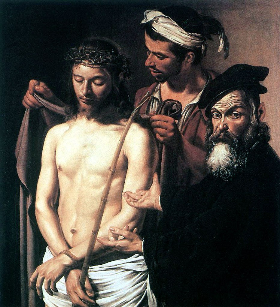 """Караваджо. """"Ecce Homo"""" — «Се человек». Около 1605 года. Палаццо Россо, Генуя. То - слова Понтия Пилата о Христе. Традиционное название изображений Иисуса Христа, что восходит к евангельскому рассказу о выдаче иудеям, требующим его казни ."""